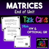 Matrices Task Cards  QR  Quiz  HW