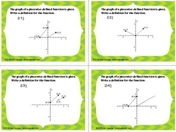 Piecewise Defined Functions Task Cards  plus HW