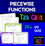 Piecewise Functions Task Cards plus HW or quiz