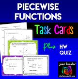 Piecewise Functions Task Cards plus HW or quiz