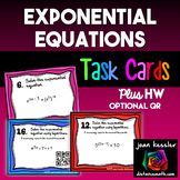 Solving Exponential Equations with Logs Task Cards  QR