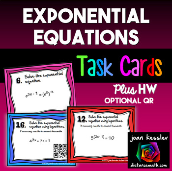 Solving Exponential Equations With Logs Task Cards Qr By Joan Kessler