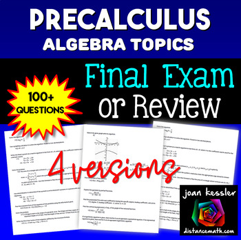 PreCalculus Final Review  or  Calculus Topic Review