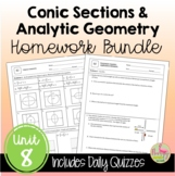 Conic Sections and Analytic Geometry Homework (Unit 8)