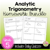 Analytic Trigonometry Homework (PreCalculus - Unit 5)
