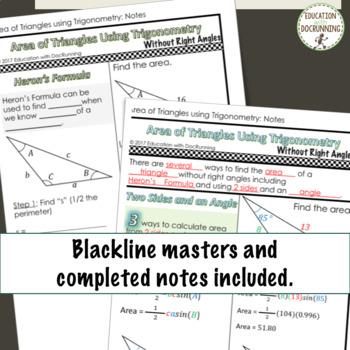 PreCalculus Area of non-right triangles using trigonometry interactive notebook