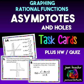 PreCalculus Asymptotes Rational Functions Task Cards Plus HW