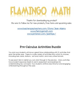 PreCalculus Bundle of Activities