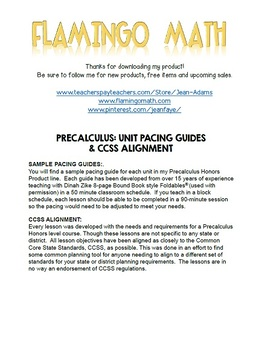 PreCalculus: Curriculum Pacing Guides and Standards Alignment