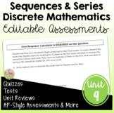 Discrete Mathematics Assessments (PreCalculus - Unit 9)