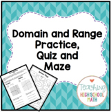 PreCalculus Domain and Range Notes, Quiz and Maze