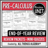 PreCalculus EOC Review Packets + Editable Quizzes