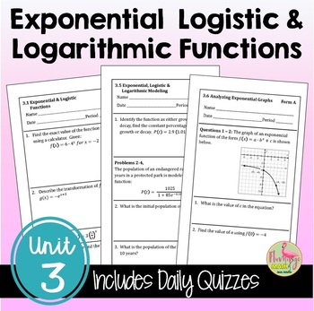 Exponential and Logarithmic Functions Daily Quizzes (PreCalculus - Unit 3)