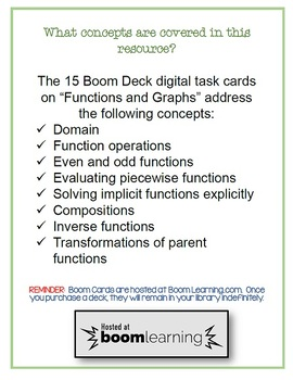 PreCalculus: Functions Operations Compositions and Inverses BOOM Cards