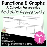Functions and Graphs Assessments (PreCalculus - Unit 1)