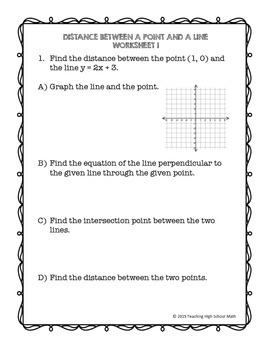 PreCalculus Geometry Distance Between A Point and A Line Worksheets and Proof