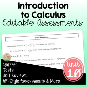 PreCalculus: Intro to Calculus Assessments Only