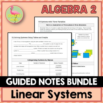 Algebra 2: Linear Systems Guided Notes Bundle