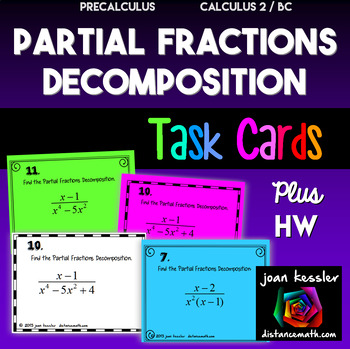 PreCalculus Partial Fraction Decomposition Task Cards