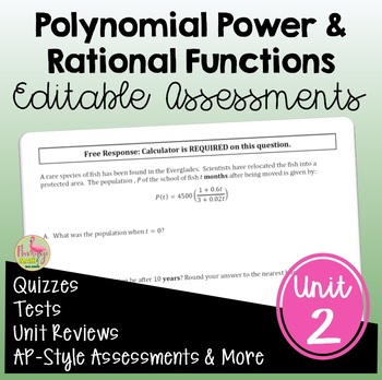 PreCalculus: Polynomial, Power and Rational Functions Assessments Only