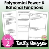 Polynomial Power and Rational Functions Daily Quizzes (PreCalculus - Unit 2