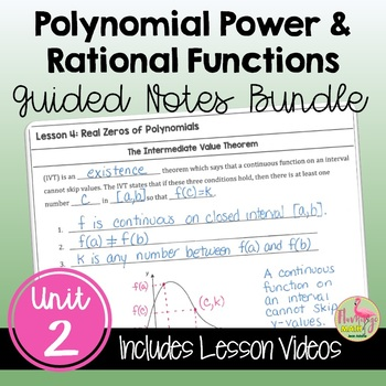 PreCalculus: Polynomial, Power and Rational Functions Guided Notes Bundle