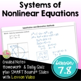 Systems of Nonlinear Equations with Lesson Video (Unit 7)