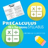 PreCalculus Syllabus