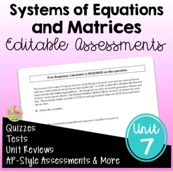 PreCalculus: Systems and Matrices Assessments Only