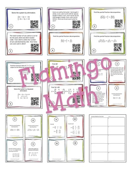PreCalculus: Systems and Matrices Task Cards QR Codes