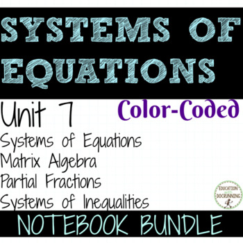 Pre Calculus Systems of Equations Inequalities COLOR interactive notebook Unit 7
