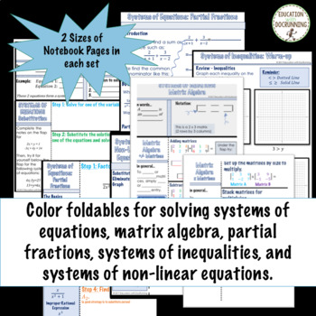 Systems of Equations and Inequalities PreCalculus Curriculum Unit 7 Bundle