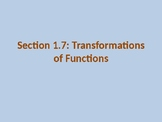 PreCalculus: Transformations of Functions