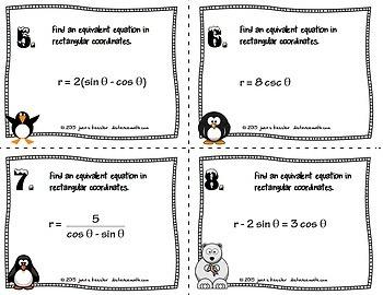 Polar to Rectangular Equations Task Cards plus Sort and Organizer