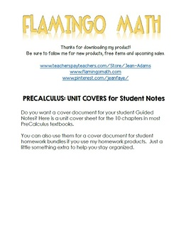 PreCalculus: Unit Binder Covers and Spines