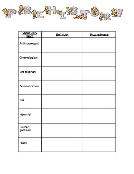 Prehistory Unit Worksheets Teaching Resources Tpt
