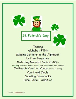St. Patrick's Day Fun for PreK-1 - tracing, alphabet, numb