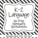 No Prep K-2 Language Homework Packet