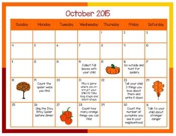 PreK Activity Calendar for Parents October