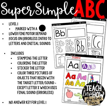 Super Simple ABC: Alphabet Worksheets, Letter Learning {PreK-K, Special Ed, RTI}