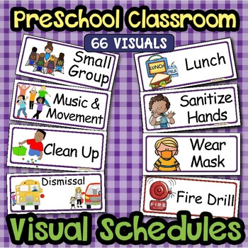 photograph regarding Free Printable Visual Schedule for Preschool known as Visible Routine Heart Labels ~EDITABLE~ PreK Clroom