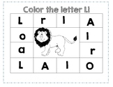 PreK Color Worksheet- Letter L