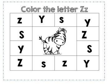PreK Color Worksheet- Letter Z