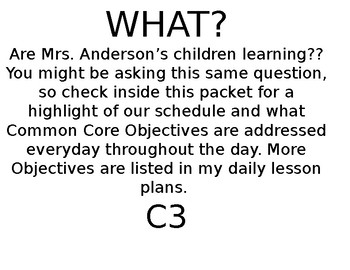 PreK-Common Core C3 Goals (TLE) and standards listed by your schedule!