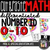 Cut & Paste Numbers: Differentiated Worksheets 0-10 {PreK-