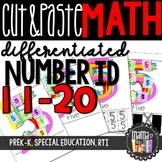 Cut & Paste Numbers: Differentiated Worksheets 11-20 {PreK-K, Special Ed, RTI}