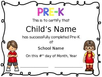 prek diplomas editable by live love preschool tpt