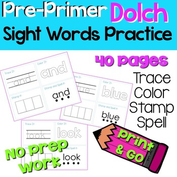 PreK Dolch Sight Word Practice Worksheets