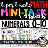 Super Simple Math: Number Worksheets, Numerals 0-10, Number Sense, NO PREP