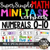 Super Simple Math: Number Worksheets, Numerals 0-10, NO PREP